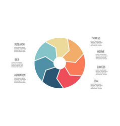 Business infographics pie chart with 7 parts vector