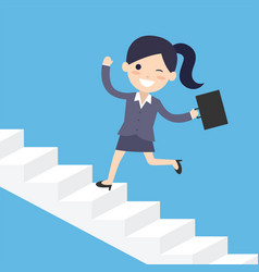 business woman running up the stairs vector image