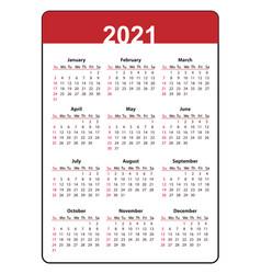 Calendar 2021 year vertical pocket week starts vector