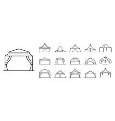 Canopy icon set outline style vector