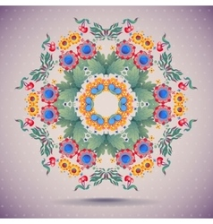 card Round oriental pattern on vintage vector image