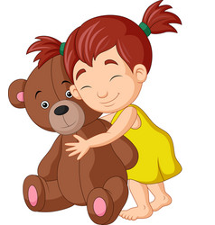 cartoon little girl hugging teddy bear vector image