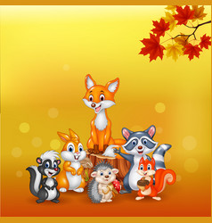 cartoon wild animals with autumn background vector image