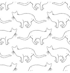 cats seamless pattern coloring book page vector image