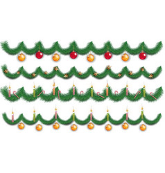 christmas background with fir branches and toy vector image