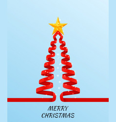 christmas tree made of red ribbon on bright vector image