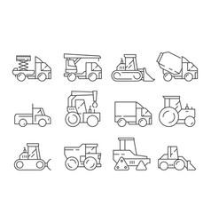 construction vehicles heavy machinery vector image