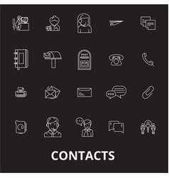 contacts editable line icons set on black vector image