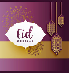 creative eid festival greeting with hanging lamps vector image