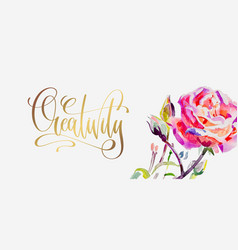creativity - golden hand lettering poster with vector image