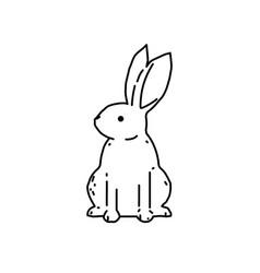 cute bunny rabbit line art drawing vector image