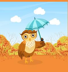 cute owl bird character walking with umbrella in vector image