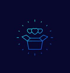 Donation box icon linear vector