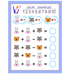 Educational page for little children on addition vector