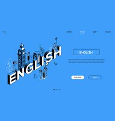 English language colorful landing page vector