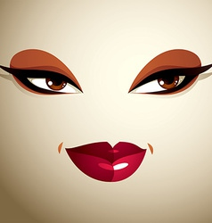 Face makeup lips and eyes of an attractive woman vector