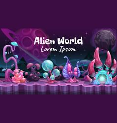 Fantasy cartoon alien world landscape vector