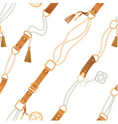 fashion seamless pattern with chains and straps vector image