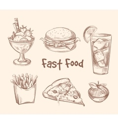 Fast food set in hand drawn sketch style vector