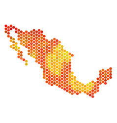 Fired hexagon mexico map vector