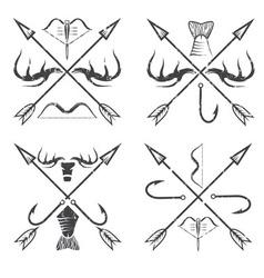 Fishing and hunting vintage grunge labels set vector