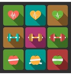 Fitness exercises progress icons set vector image