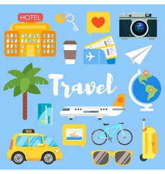 Flat style set of travel objects vector