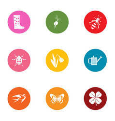 Forest life icons set flat style vector