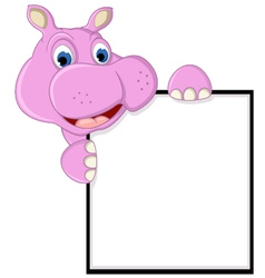 Funny hippo cartoon with blank sign vector