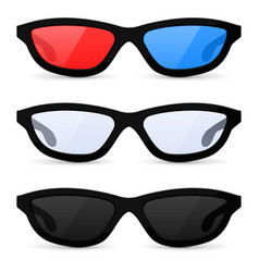 glasses set sunglasses and 3d movie theater vector image