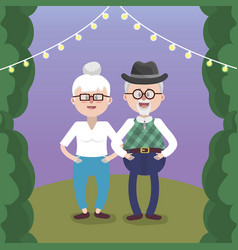 Grandparents lovely couple vector