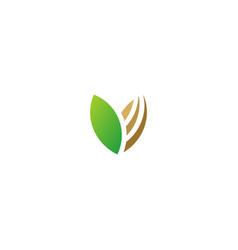 green leaf organic abstract bio logo vector image