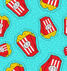 Hand drawn popcorn bucket patch icon pattern vector image