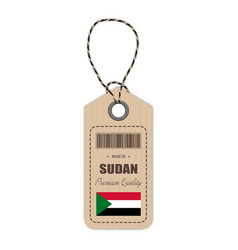 hang tag made in sudan with flag icon isolated on vector image