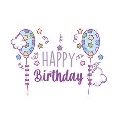Happy birthday starry balloons clouds decoration vector