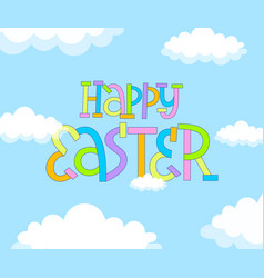 Happy easter cute doodle spring lettering design vector
