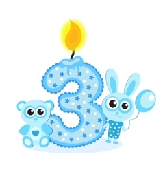 Happy Third Birthday Candle and Animals Isolated vector