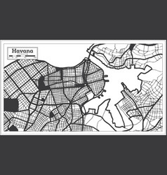 Havana cuba city map in black and white color vector
