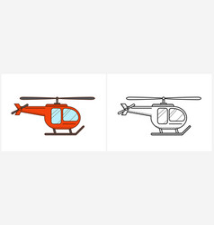 Helicopter aircraft icon coloring page side view vector