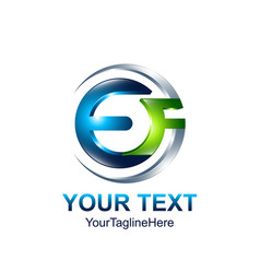 initial letter ef logo template colored blue vector image