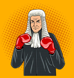 judge with boxing gloves pop art vector image