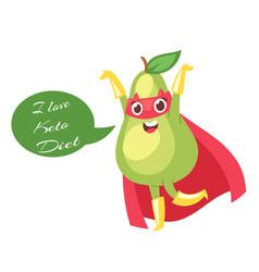 Keto diet with cartoon cute green avocado in red vector