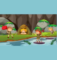 Kids camping outdoors scene vector