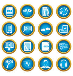 Learning foreign languages icons blue circle set vector