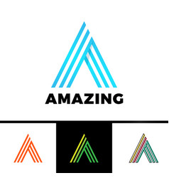 letter a enclosed in a triangle abstract logo vector image
