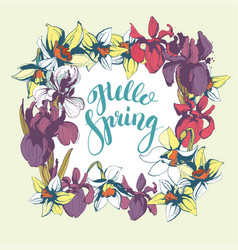 lettering hello spring hand drawn floral vector image