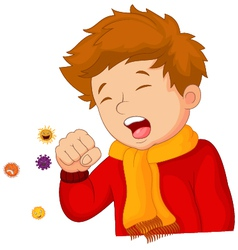 little boy coughing on white background vector image