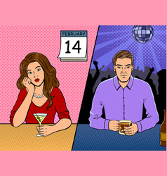 lonely people on valentine day pop art vector image