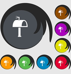Mailbox icon sign Symbols on eight colored buttons vector image
