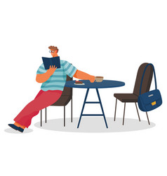 Man read book in coffeehouse and drink coffee vector